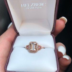 Helzberg - Morganite/rose gold ring w/diamonds!!